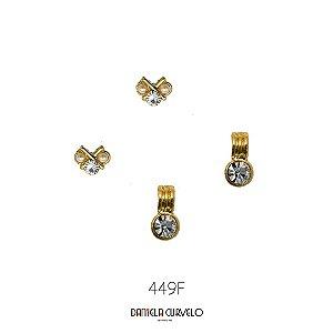 Kit com 2 brincos Pequeno Pérola e Strass + Brinco Dourado e Strass - BF449PE