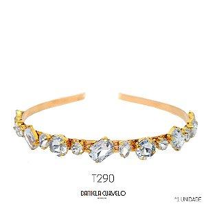 Tiara de Metal Pedrarias Brancas  - T290