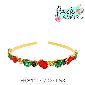 PEÇA 14 OPÇÃO 3 Tiara de Metal Pedrarias Verde, Vermelho e Cinza - T293