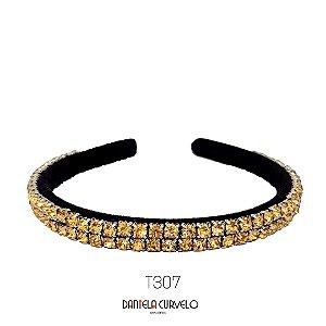 Tiara de Luxo Bordada Fina Dourada - T307