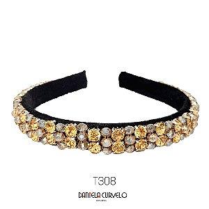 Tiara de Luxo Bordada Média Dourada e Cristal - T308