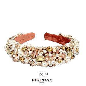 Tiara Larga Alta Bordada Rosê Pedrarias Douradas e Pérolas - T309