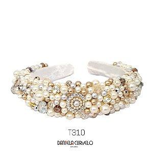 Tiara Larga Alta Bordada Branca Pedrarias Douradas e Pérolas - T310