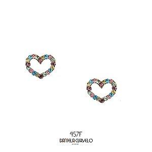 Brinco Coração Strass Candy Color BF457CD