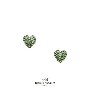 Brinco Coração Strass Verde Claro BF458VE