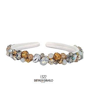 Tiara de Luxo Bordada Fina  Branca Pedrarias Douradas, Brancas  - T322