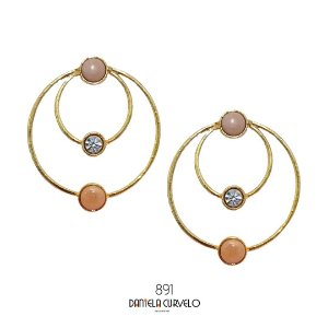 Brinco Argola Pedras Rosê e Strass - BG891DR