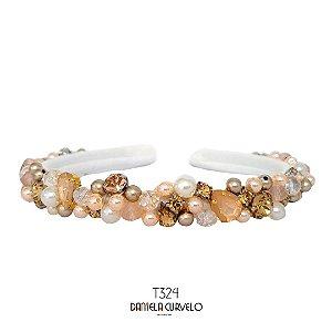 Tiara Fina Bordada Branca e Rosê  - T324