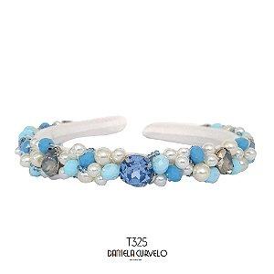 Tiara Fina Bordada Branca e Azul - T325