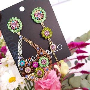 Brinco Assimétrico Dourado Gota com Flores Verde e Lilás - BA837CR