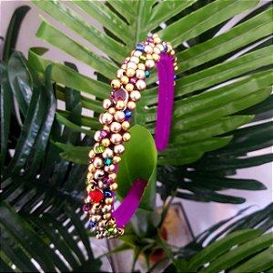 Tiara de Luxo Fina Roxa, Dourado e Colorida #2 - TI47