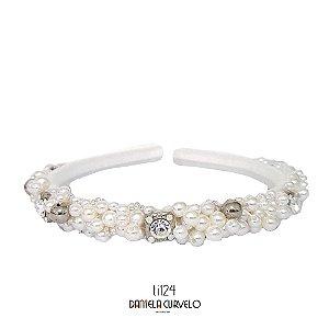 Tiara Bordada Fina Branca Pedra Prata + Pérolas - TI124