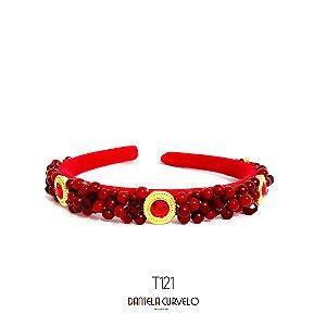 Tiara Bordada Fina Vermelha e Dourado - TI121
