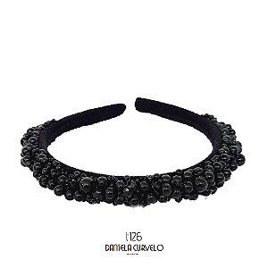 Tiara de Luxo Bordada Fina Pedrarias Pretas - T126