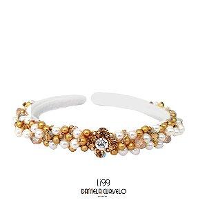 Tiara de Luxo Fina Branca, Pérola e Dourado  - TI99
