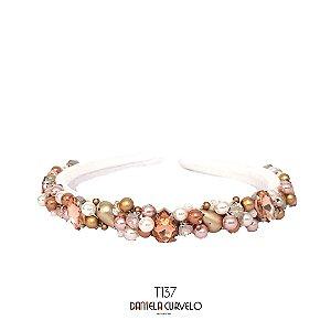 Tiara Bordada Fina Pedrarias Brancas, Douradas e Rosê- T137