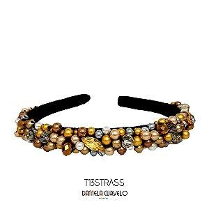 Tiara de Luxo Fina Bordada Preta ,Strass e Pedras Douradas e Cinzas- T13STRASS