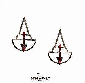 Brinco Triângulo Ônix e Vermelho - BG761VO