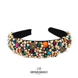 Tiara de Luxo Grossa Bordada Preta ,Strass e Pedras Coloridas - TI14