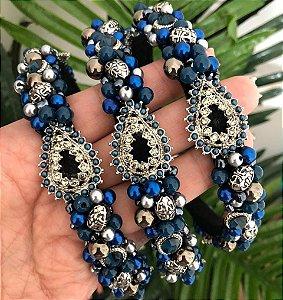 Tiara de Luxo Fina Preta e Azul - TI102