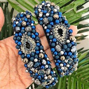 Tiara de Luxo Grossa Azul Marinho e Ônix - TI94