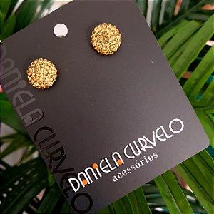 Brinco Pequeno Redondo Onix Strass Dourado - BF357DR
