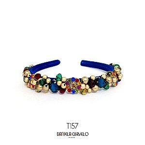 Tiara Bordada Fina Azul Pedrarias Coloridas - T157