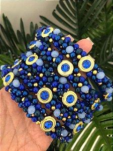 Tiara Bordada Fina Azul com Dourado - TI110