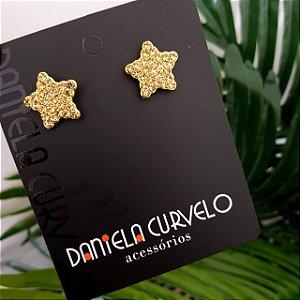 Brinco Estrela Dourada Strass Dourado  - BF376DR