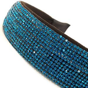 Tiara Larga Strass Azul - T179