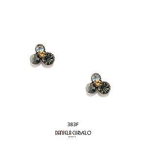 Brinco 4 Strass Cinza, Hematite e Branco - BF383CR