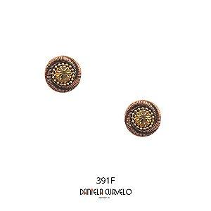Brinco Redondo Bronze com Dourado  - BF391BZ