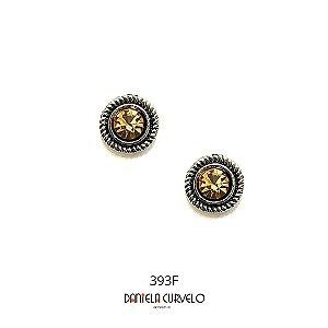 Brinco Redondo Prata com strass dourado  - BF393