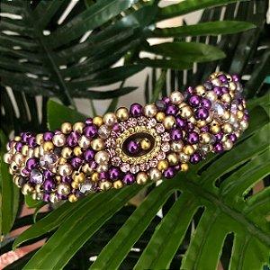 Tiara Larga bordada roxa com dourada pingente oval  - T189