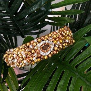 Tiara Larga bordada marrom dourada e pérola   - T191
