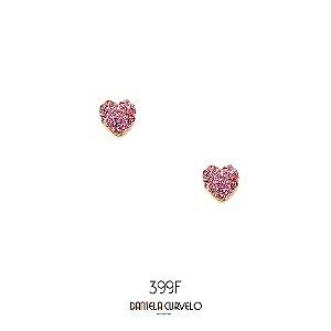 Brinco Coração Strass Rosa BF399RO