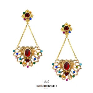 Brinco Dourado Vermelho com Colorida - BG863VO