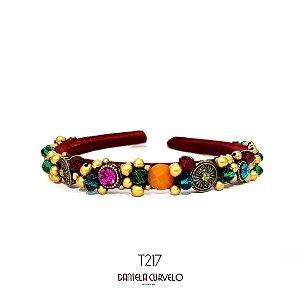 Tiara Bordada Fina Vermelha Pedrarias Coloridas - T217