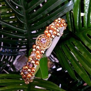 Tiara de Luxo Fina Brancas Flores Douradas e Lilás  - TI68