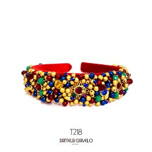 Tiara de Luxo Bordada Larga Vermelha e Colorida - T218