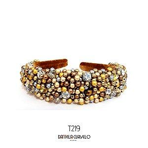 Tiara Larga Bordada Marrom Dourada e Cinza   - T219