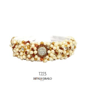 Tiara de Luxo Larga Branca e Cobre - T223