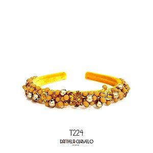 Tiara de Luxo Média Mostarda - T224