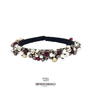 Tiara de Luxo Fina Preta Cinza Prata e Vermelho - T231
