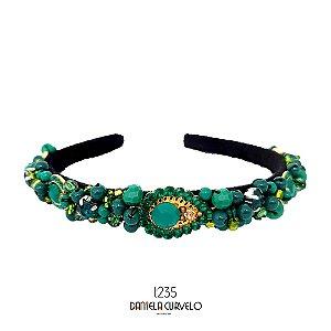 Tiara de Luxo Fina Verde Esmeralda e Dourado- T235