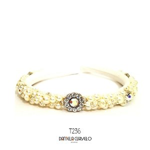 Tiara de Luxo Fina Branca, Pérola e Furta-cor - T236