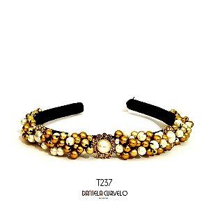 Tiara de Luxo Fina Preta Dourada Flor pérola - T237