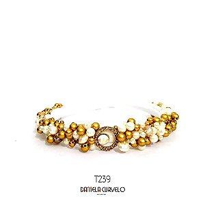 Tiara de Luxo Fina Branca Dourada e Furta-cor   - T239
