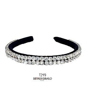 Tiara de Luxo Bordada Fina Preta Strass Branco - T249