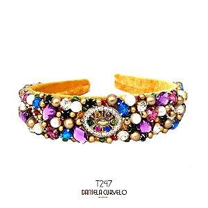Tiara de Luxo Bordada Larga Mostarda Cristais Coloridos e Lilás - T247